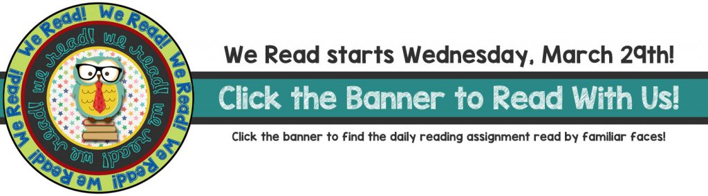 We read starts Wednesday, March 29th. Click the banner to see stories read by familiar faces!