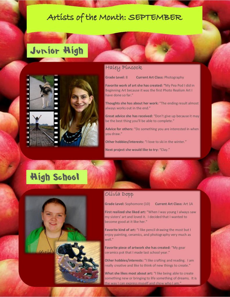 First Trimester Artists of the Month