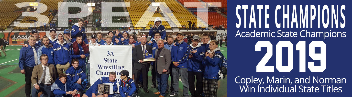 Sugar Boys win their third consecutive state championship in wrestling. Jon Marin, Kenny Copley, and Caleb Norman all won individual state titles.