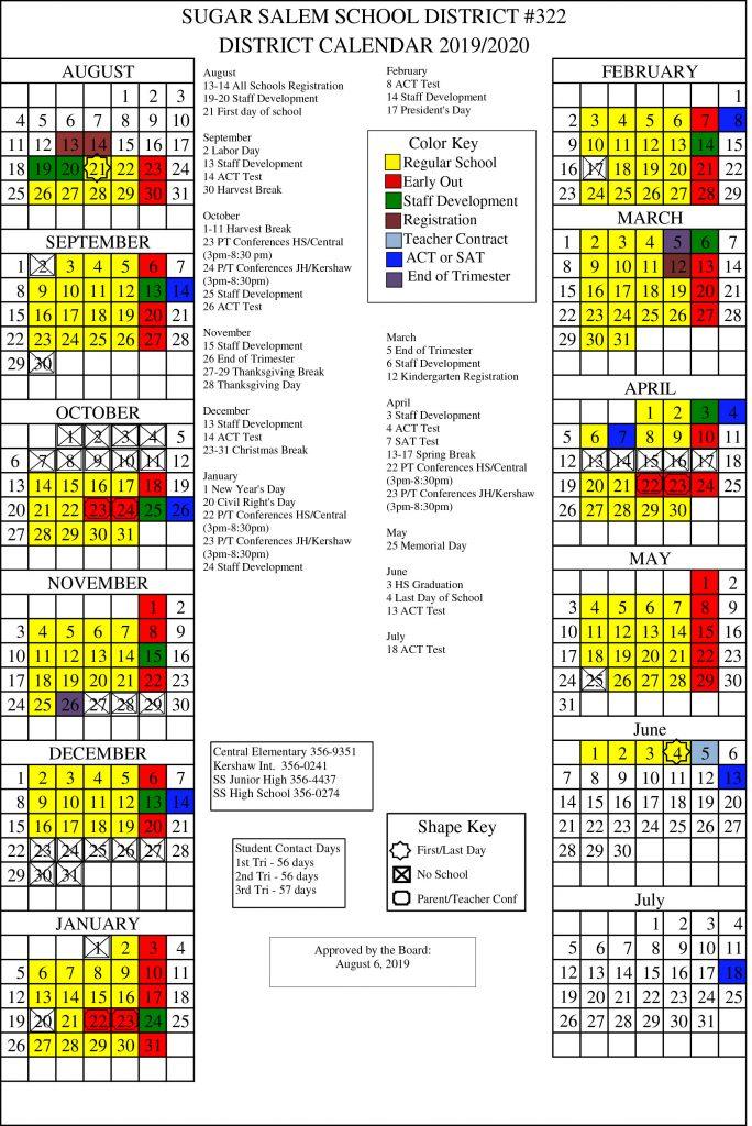 Isu Academic Calendar.Calendars Sugar Salem School District