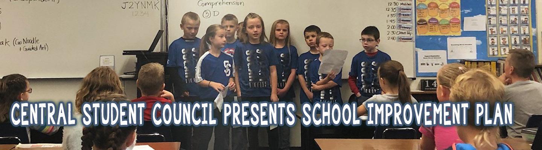 Central Student Council presents school improvement plan.